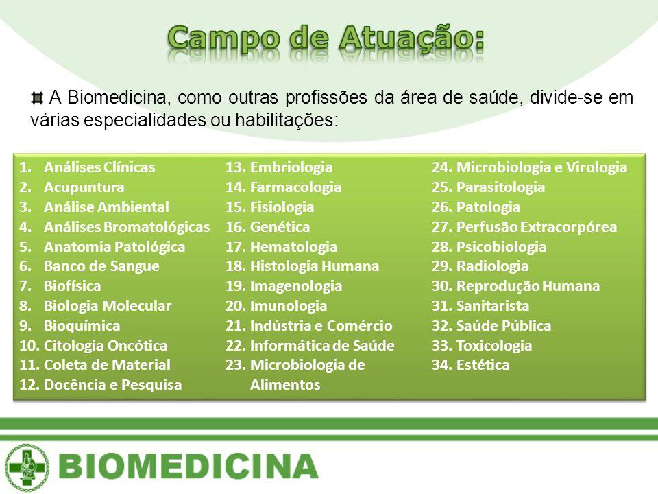 Campo de Atuação: A Biomedicina, como outras profissões da área de saúde, divide-se em várias especialidades ou habilitações: