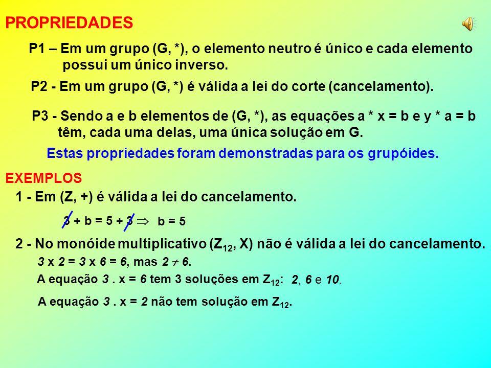 PROPRIEDADES P1 – Em um grupo (G, *), o elemento neutro é único e cada elemento. possui um único inverso.