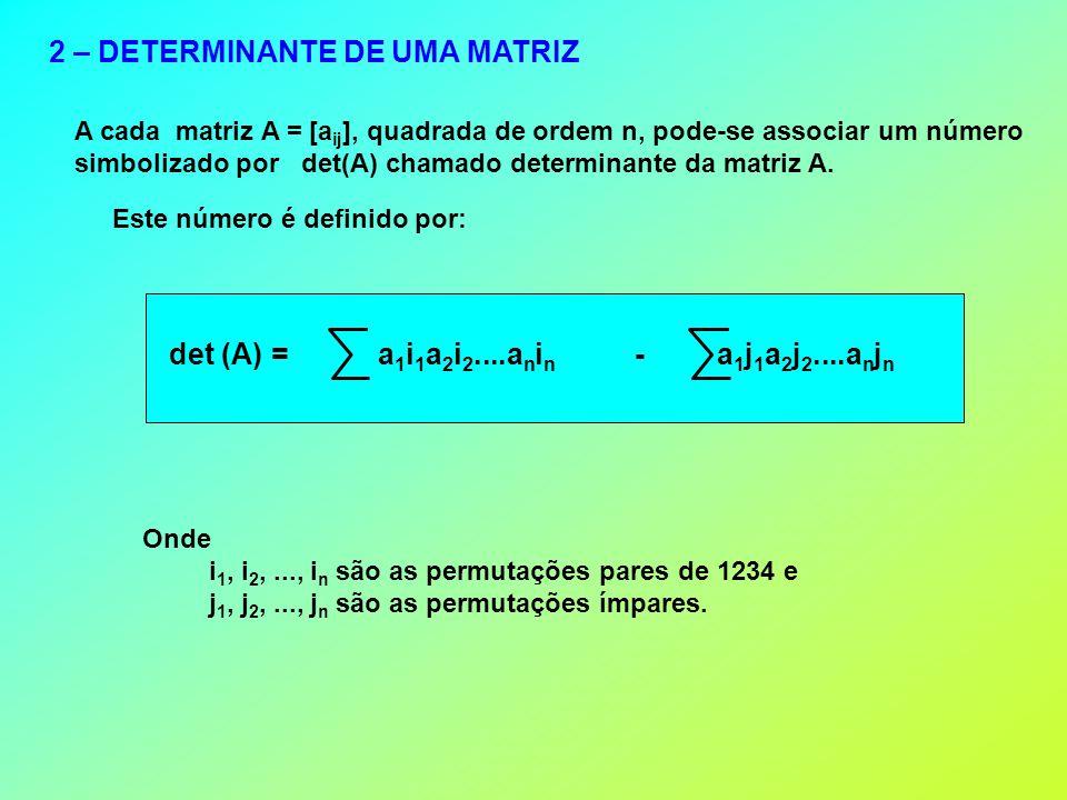 2 – DETERMINANTE DE UMA MATRIZ