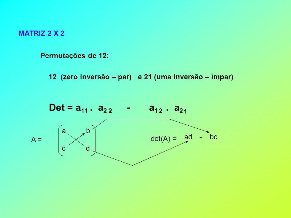 Det = a1 . a2 - a1 . a2 1 2 1 2 MATRIZ 2 X 2 Permutações de 12: