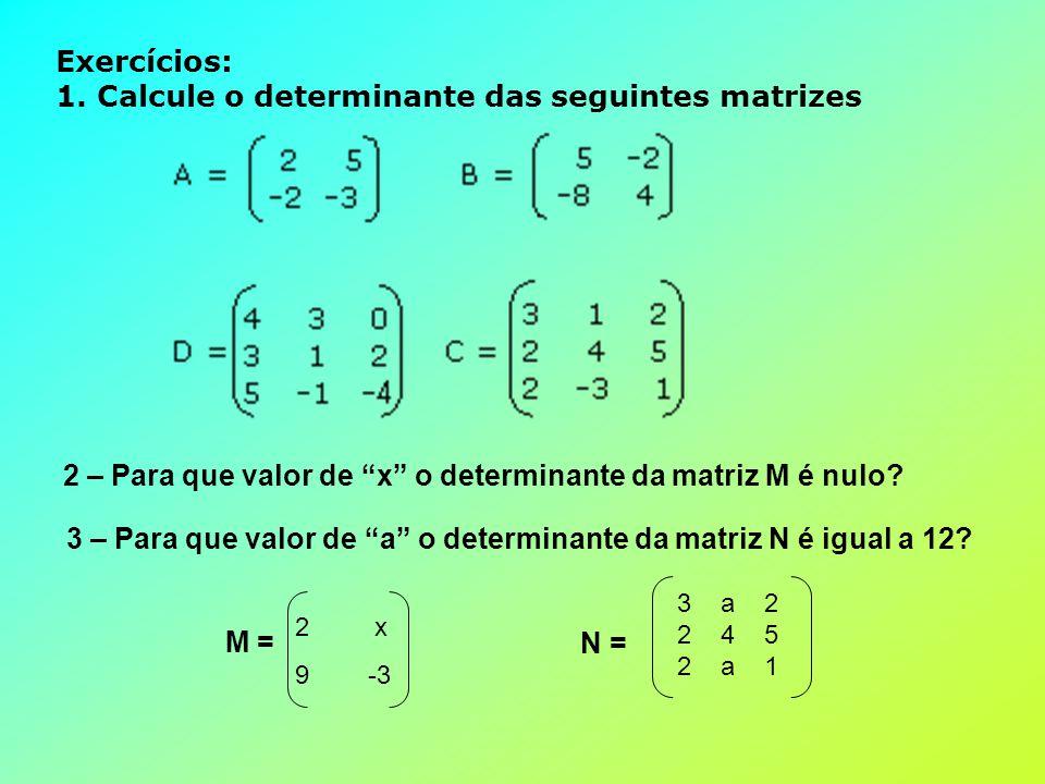 Exercícios: 1. Calcule o determinante das seguintes matrizes