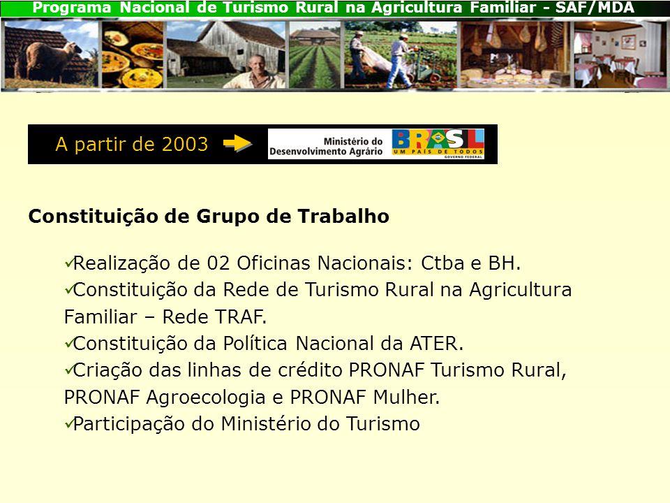 A partir de 2003 Constituição de Grupo de Trabalho. Realização de 02 Oficinas Nacionais: Ctba e BH.