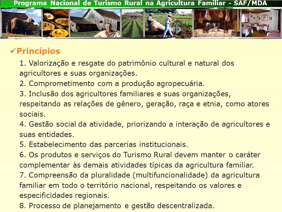 Princípios 1. Valorização e resgate do patrimônio cultural e natural dos agricultores e suas organizações.