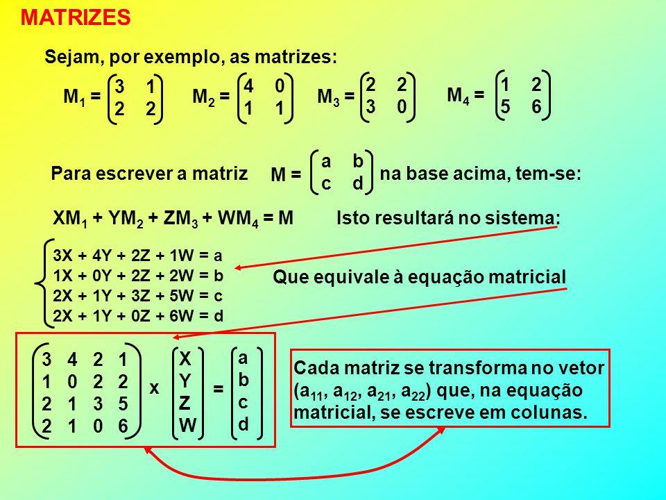 MATRIZES Sejam, por exemplo, as matrizes: 3 1 2 2 4 0 1 1 3 0 1 2 5 6