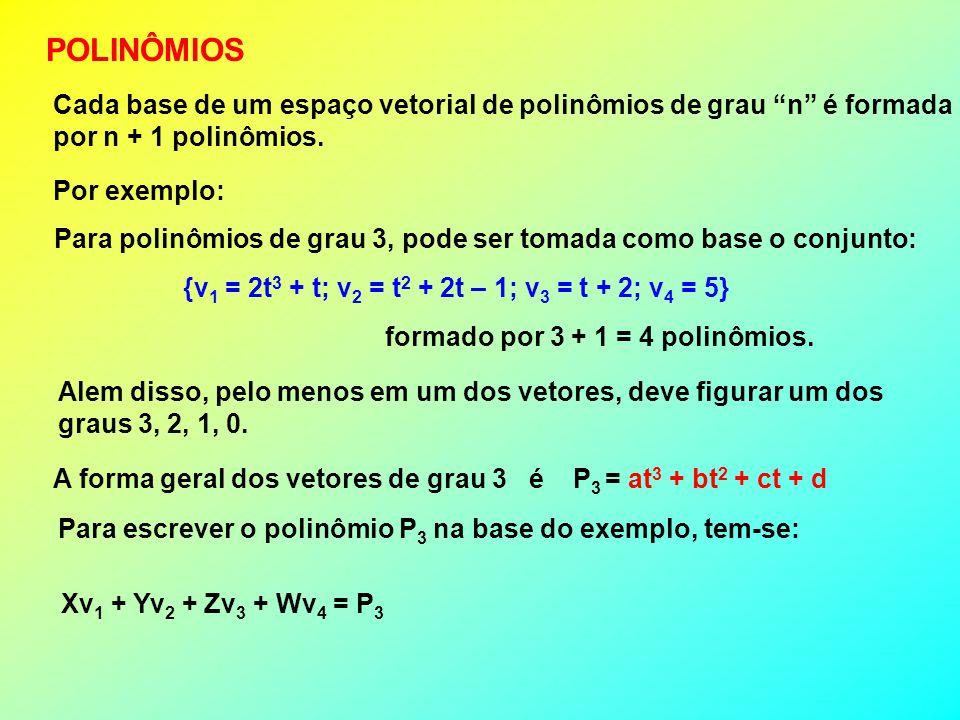 POLINÔMIOS Cada base de um espaço vetorial de polinômios de grau n é formada. por n + 1 polinômios.