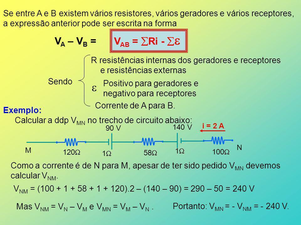Se entre A e B existem vários resistores, vários geradores e vários receptores,