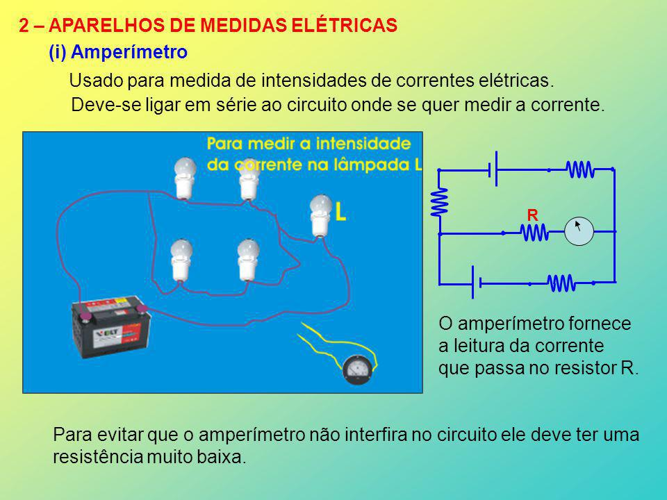 2 – APARELHOS DE MEDIDAS ELÉTRICAS (i) Amperímetro