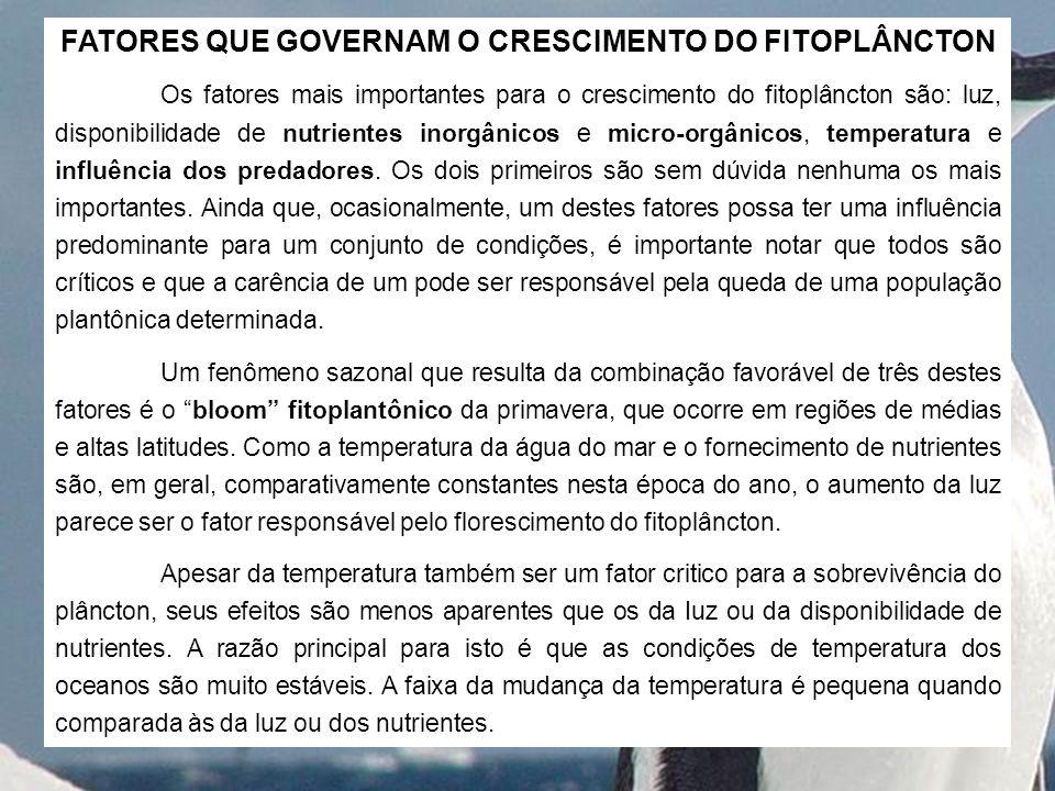 FATORES QUE GOVERNAM O CRESCIMENTO DO FITOPLÂNCTON
