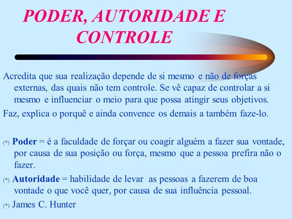 PODER, AUTORIDADE E CONTROLE