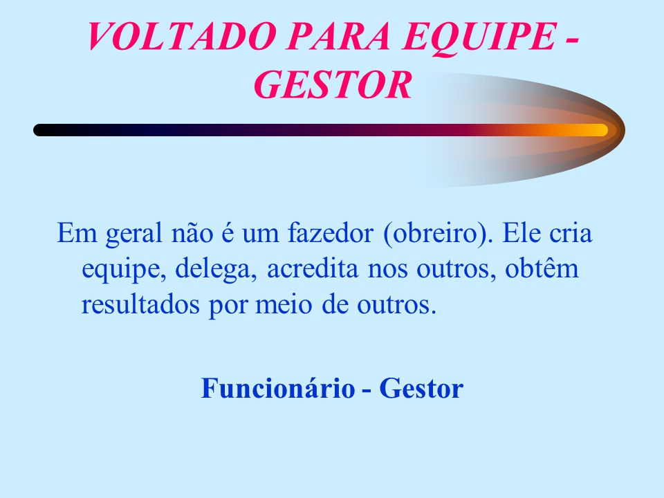 VOLTADO PARA EQUIPE - GESTOR
