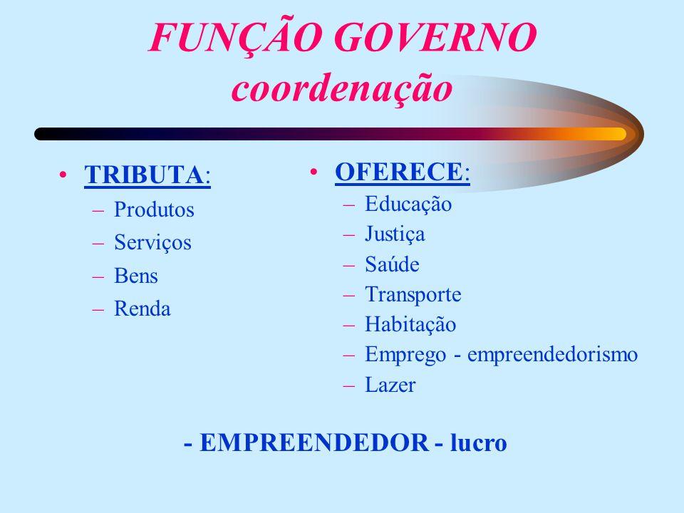 FUNÇÃO GOVERNO coordenação