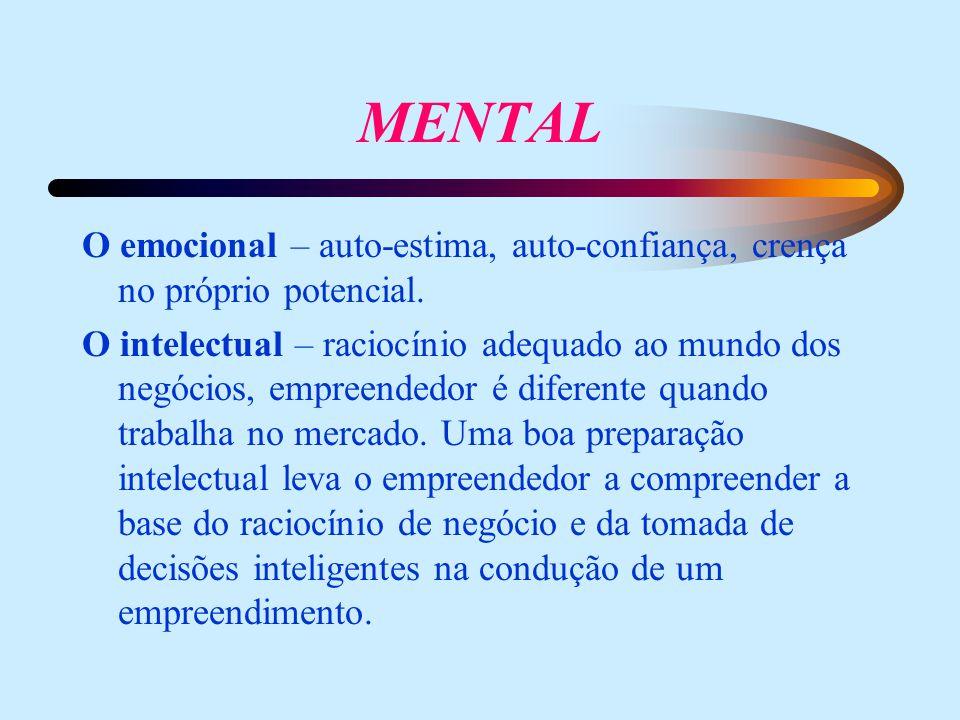 MENTAL O emocional – auto-estima, auto-confiança, crença no próprio potencial.
