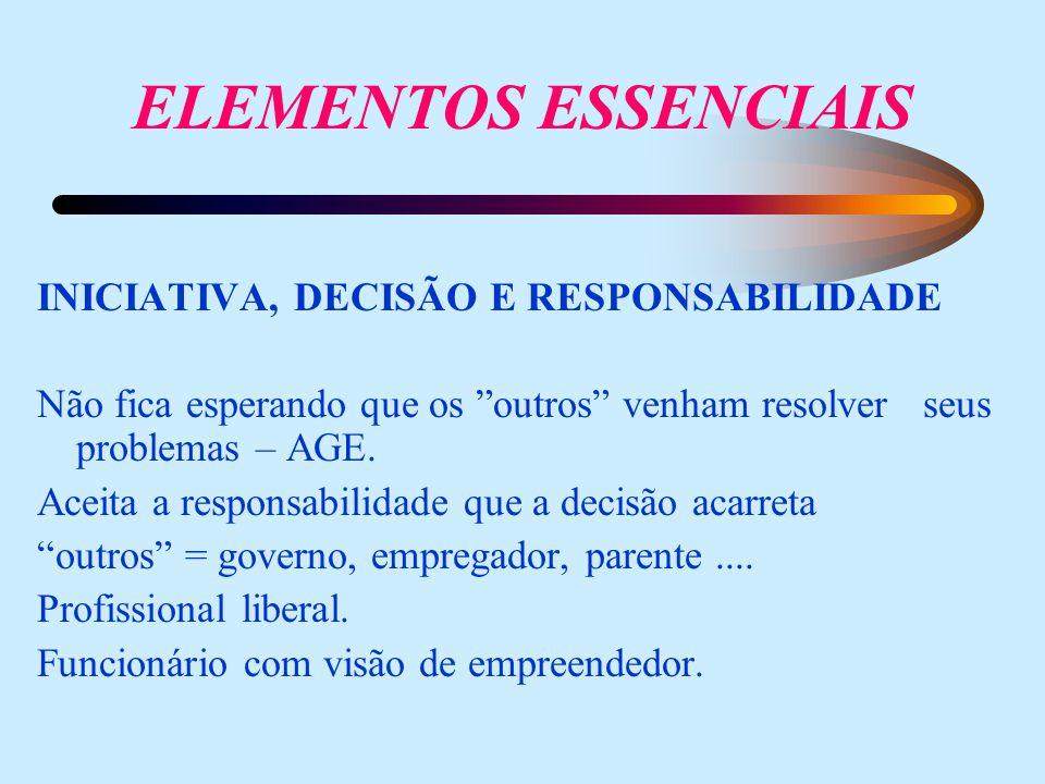 ELEMENTOS ESSENCIAIS INICIATIVA, DECISÃO E RESPONSABILIDADE