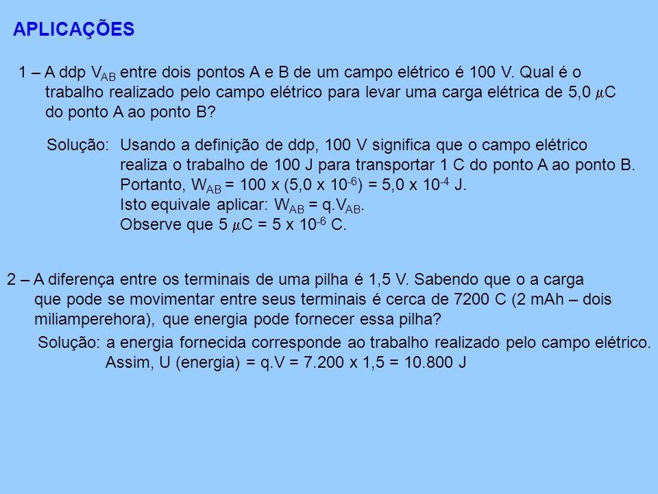 APLICAÇÕES 1 – A ddp VAB entre dois pontos A e B de um campo elétrico é 100 V. Qual é o.