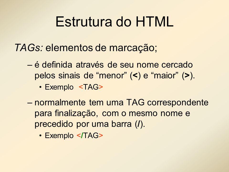 Estrutura do HTML TAGs: elementos de marcação;
