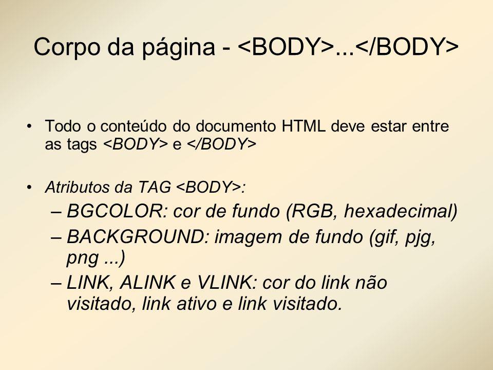 Corpo da página - <BODY>...</BODY>