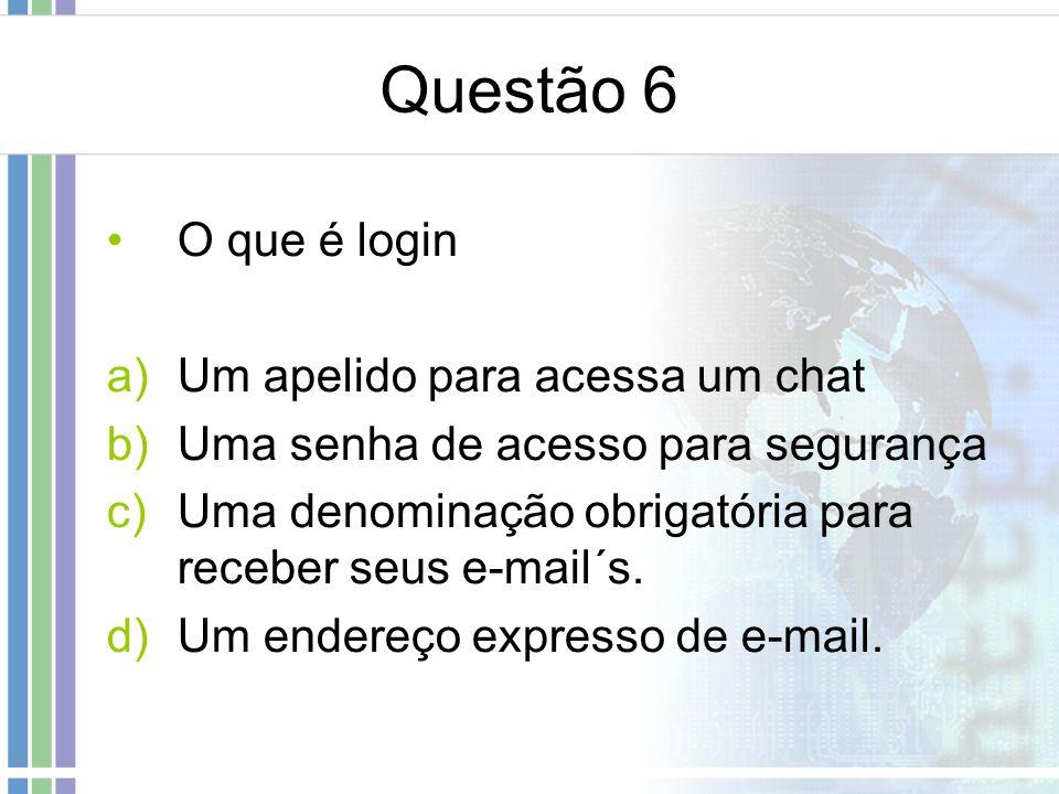 Questão 6 O que é login Um apelido para acessa um chat