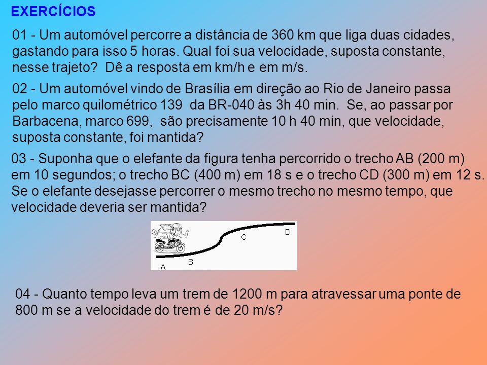 EXERCÍCIOS 01 - Um automóvel percorre a distância de 360 km que liga duas cidades,