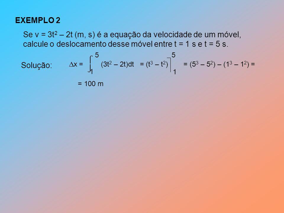 Se v = 3t2 – 2t (m, s) é a equação da velocidade de um móvel,