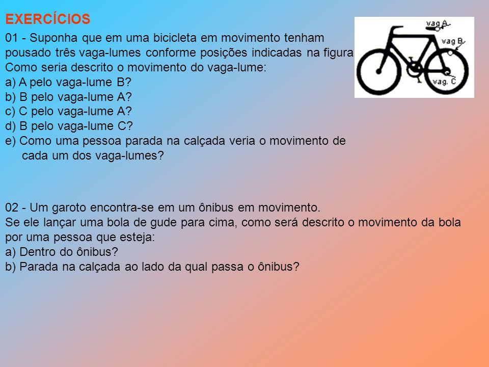 EXERCÍCIOS 01 - Suponha que em uma bicicleta em movimento tenham
