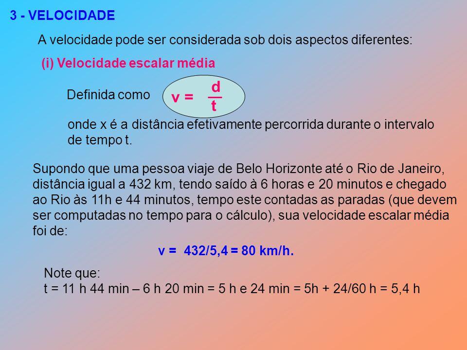 3 - VELOCIDADE A velocidade pode ser considerada sob dois aspectos diferentes: (i) Velocidade escalar média.