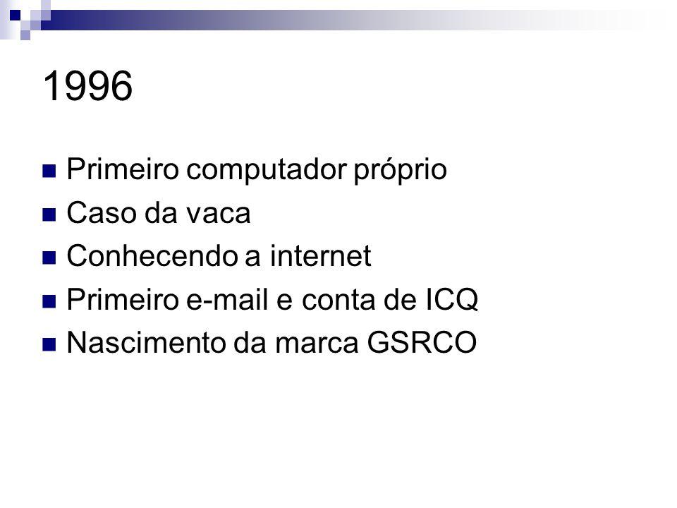 1996 Primeiro computador próprio Caso da vaca Conhecendo a internet