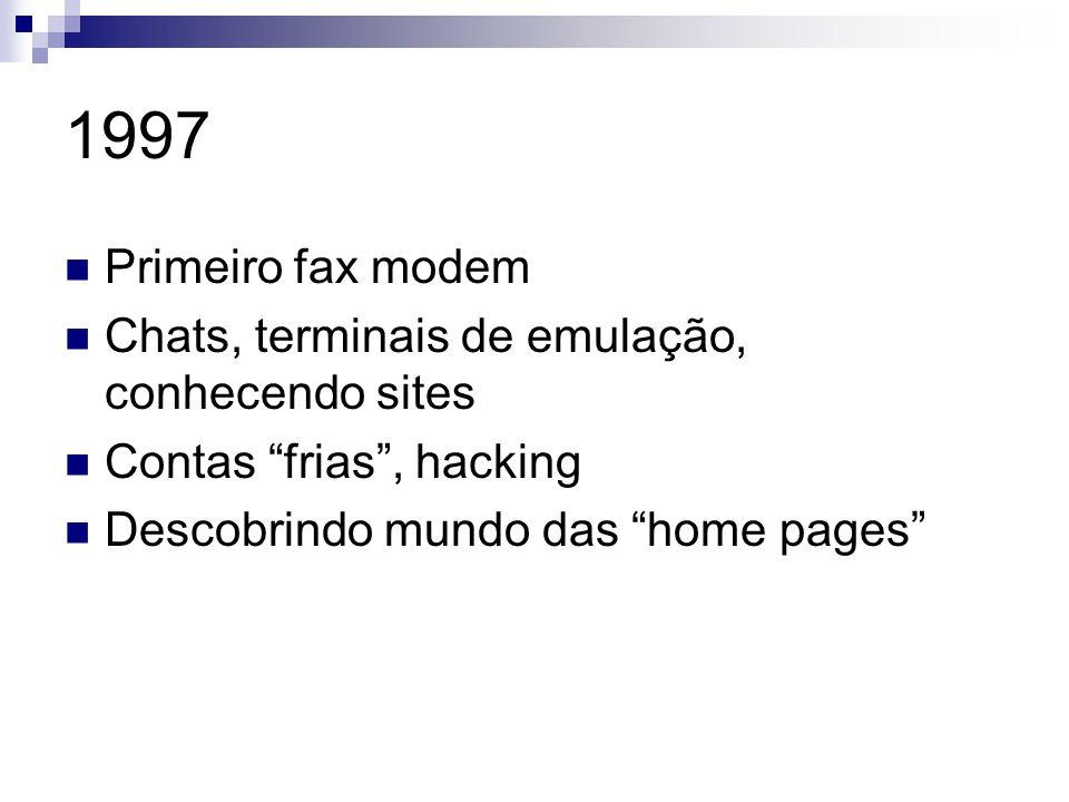 1997 Primeiro fax modem Chats, terminais de emulação, conhecendo sites