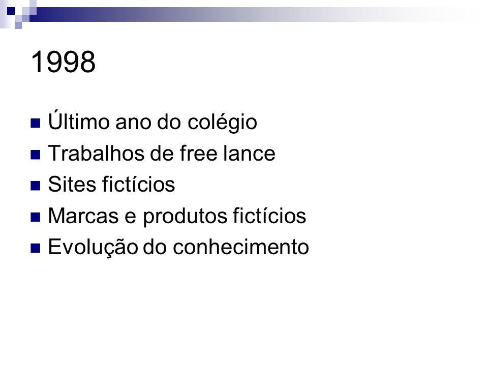 1998 Último ano do colégio Trabalhos de free lance Sites fictícios