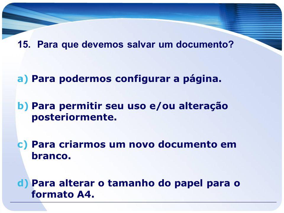 Para que devemos salvar um documento