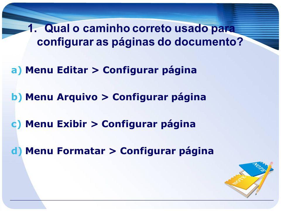 Qual o caminho correto usado para configurar as páginas do documento