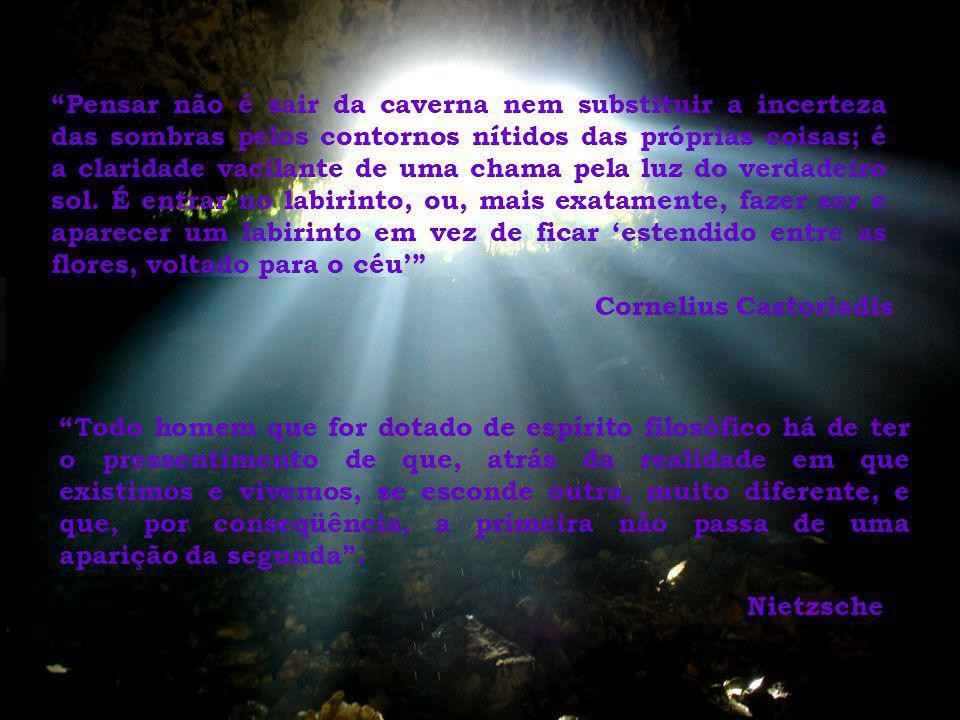 Pensar não é sair da caverna nem substituir a incerteza das sombras pelos contornos nítidos das próprias coisas; é a claridade vacilante de uma chama pela luz do verdadeiro sol. É entrar no labirinto, ou, mais exatamente, fazer ser e aparecer um labirinto em vez de ficar 'estendido entre as flores, voltado para o céu'