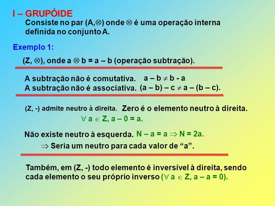 I – GRUPÓIDE Consiste no par (A,) onde  é uma operação interna