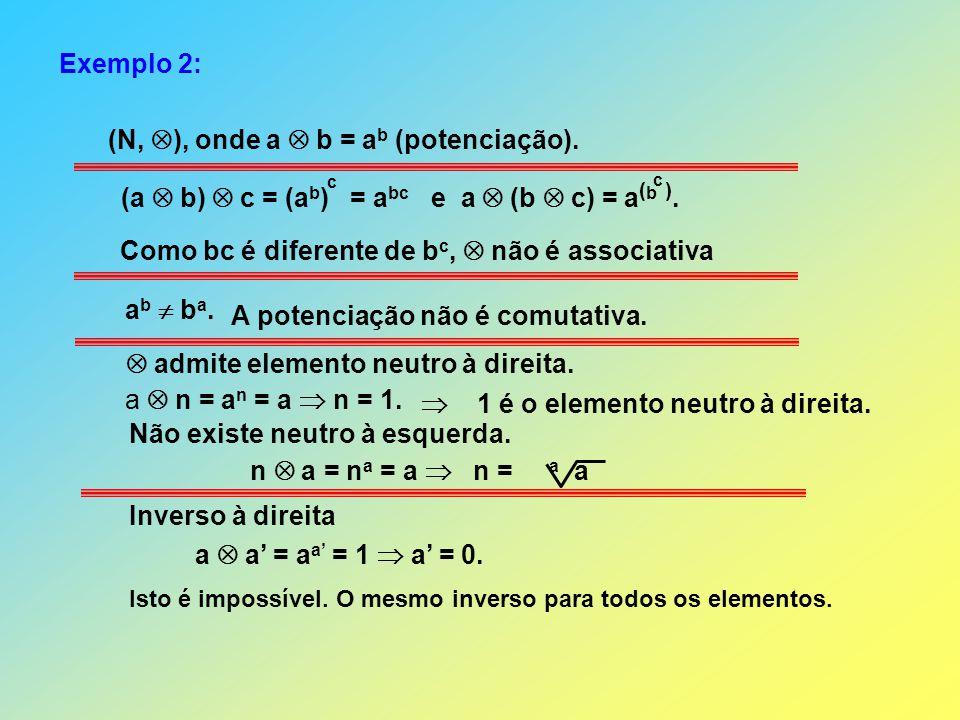 (N, ), onde a  b = ab (potenciação).