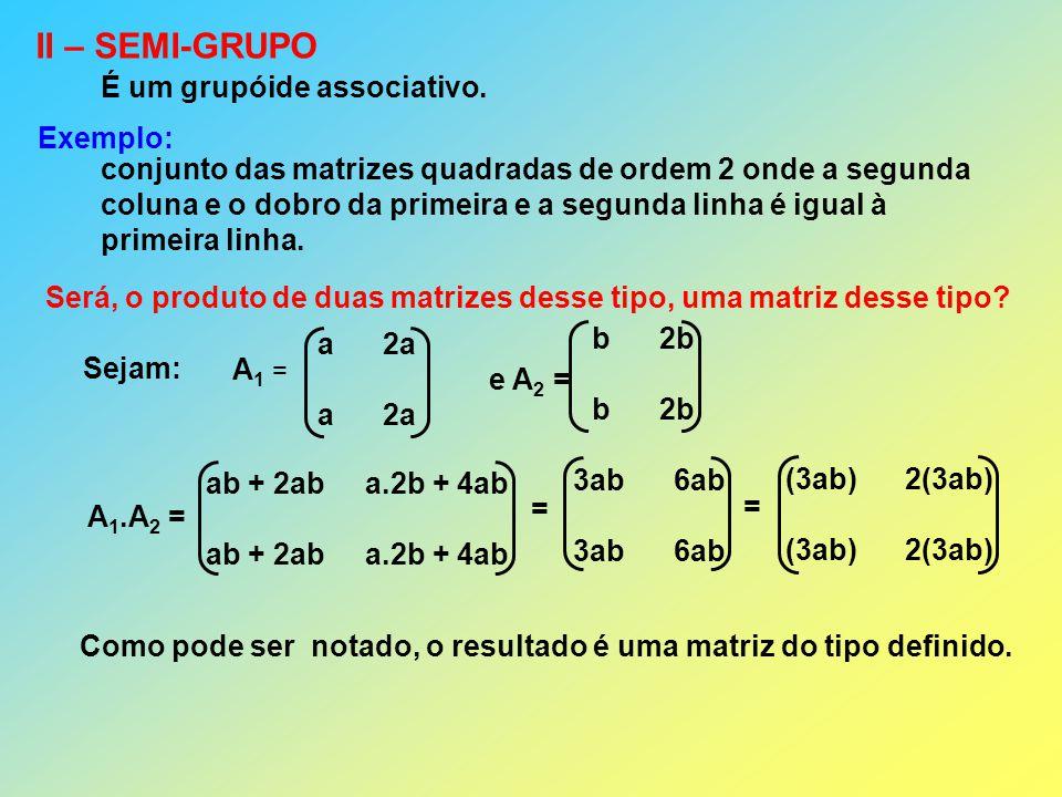 II – SEMI-GRUPO É um grupóide associativo. Exemplo: