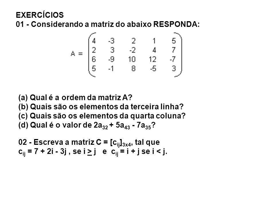 EXERCÍCIOS 01 - Considerando a matriz do abaixo RESPONDA: