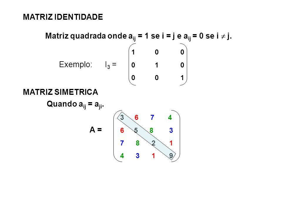 Matriz quadrada onde aij = 1 se i = j e aij = 0 se i  j.