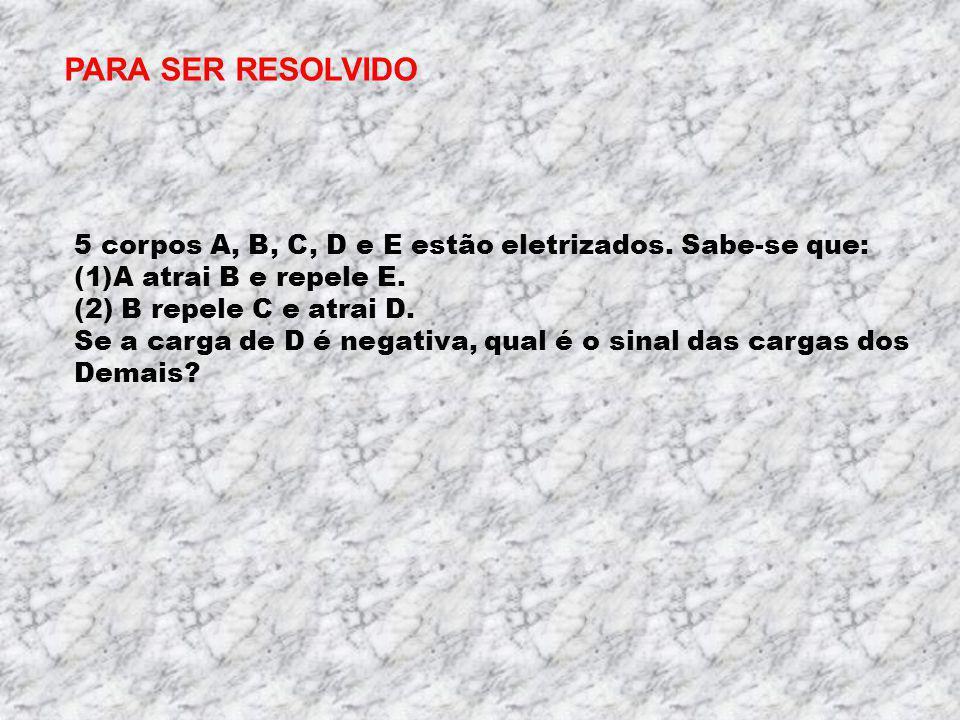 PARA SER RESOLVIDO 5 corpos A, B, C, D e E estão eletrizados. Sabe-se que: A atrai B e repele E. (2) B repele C e atrai D.