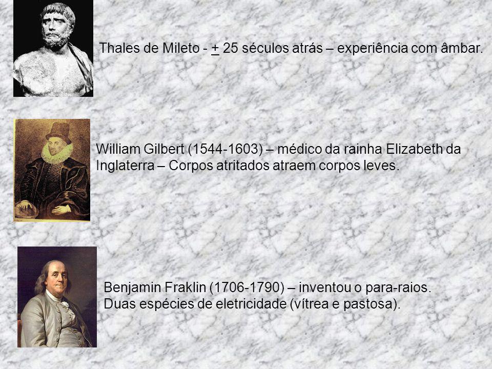 Thales de Mileto - + 25 séculos atrás – experiência com âmbar.