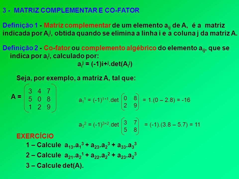 3 - MATRIZ COMPLEMENTAR E CO-FATOR