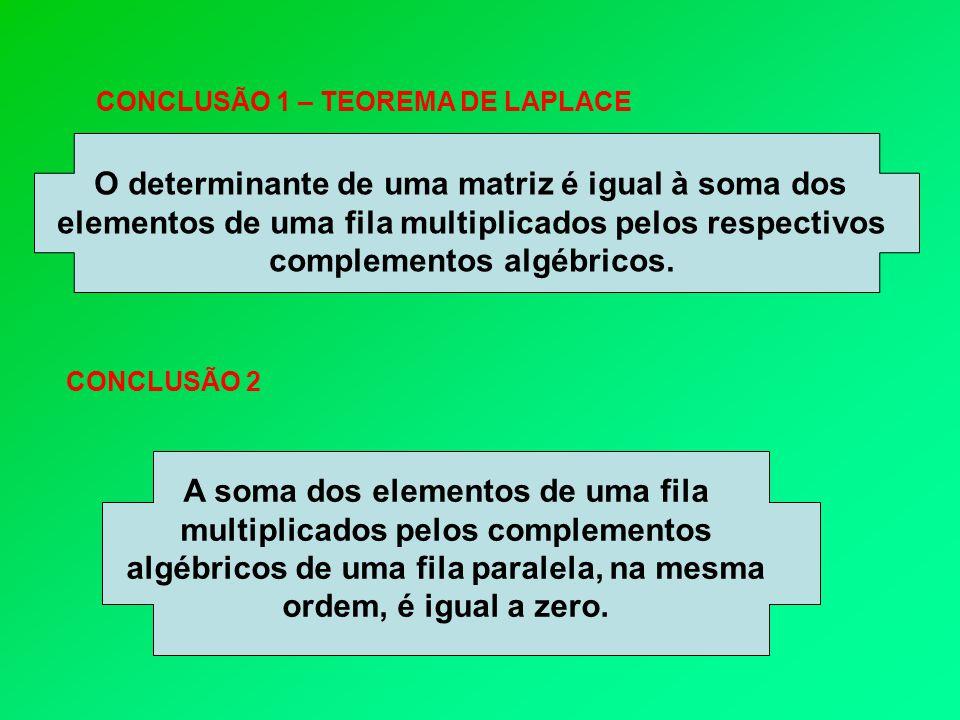 O determinante de uma matriz é igual à soma dos