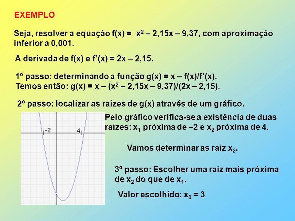 EXEMPLO Seja, resolver a equação f(x) = x2 – 2,15x – 9,37, com aproximação inferior a 0,001. A derivada de f(x) e f'(x) = 2x – 2,15.