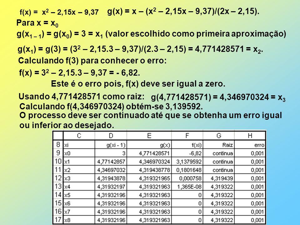 g(x1 – 1) = g(x0) = 3 = x1 (valor escolhido como primeira aproximação)