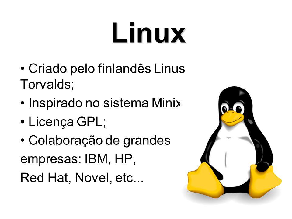 Linux Criado pelo finlandês Linus Torvalds;