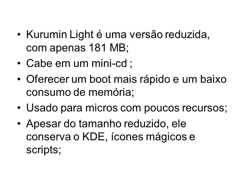 Kurumin Light é uma versão reduzida, com apenas 181 MB;