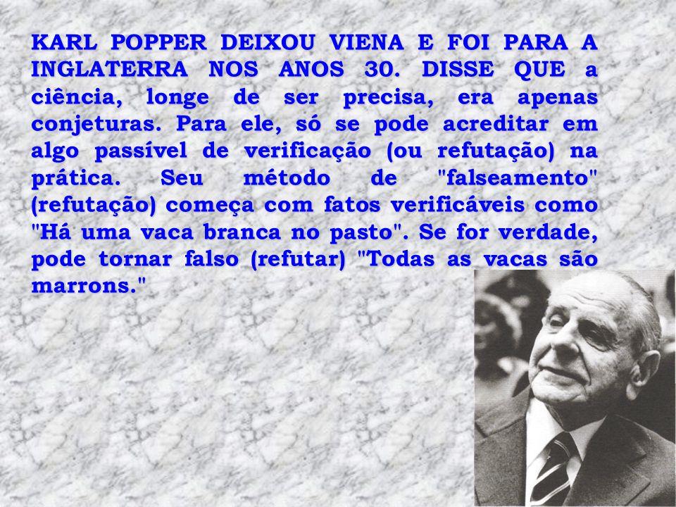 KARL POPPER DEIXOU VIENA E FOI PARA A INGLATERRA NOS ANOS 30