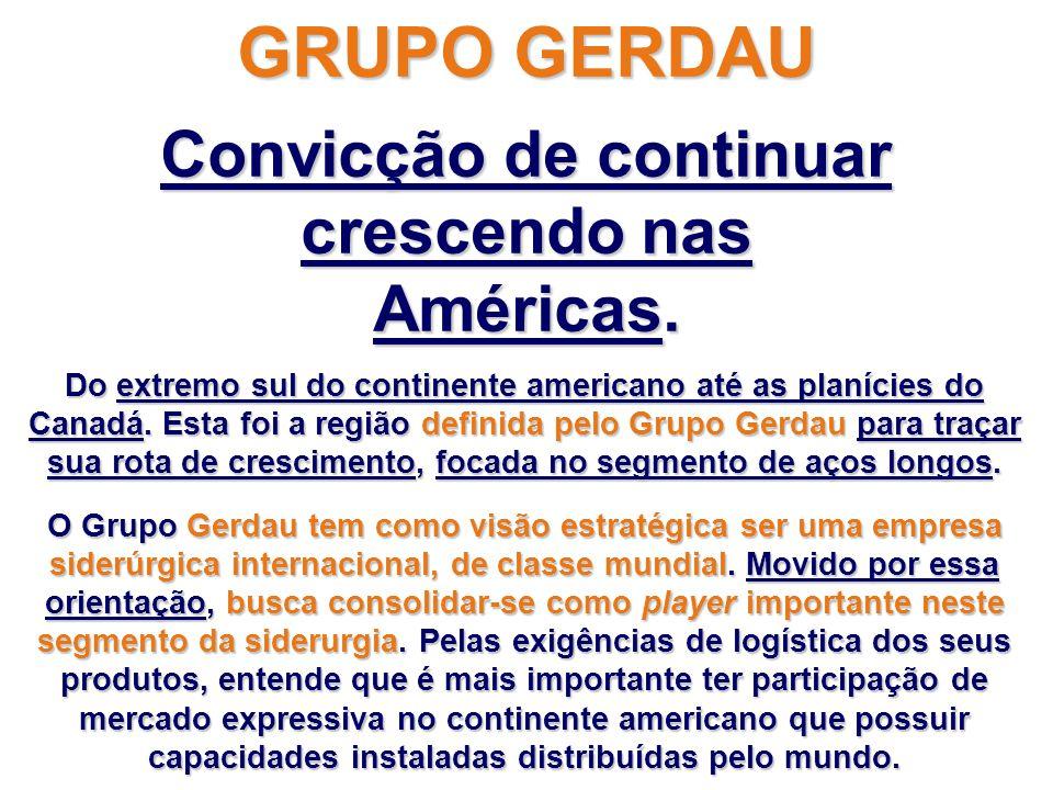 GRUPO GERDAU Convicção de continuar crescendo nas Américas.