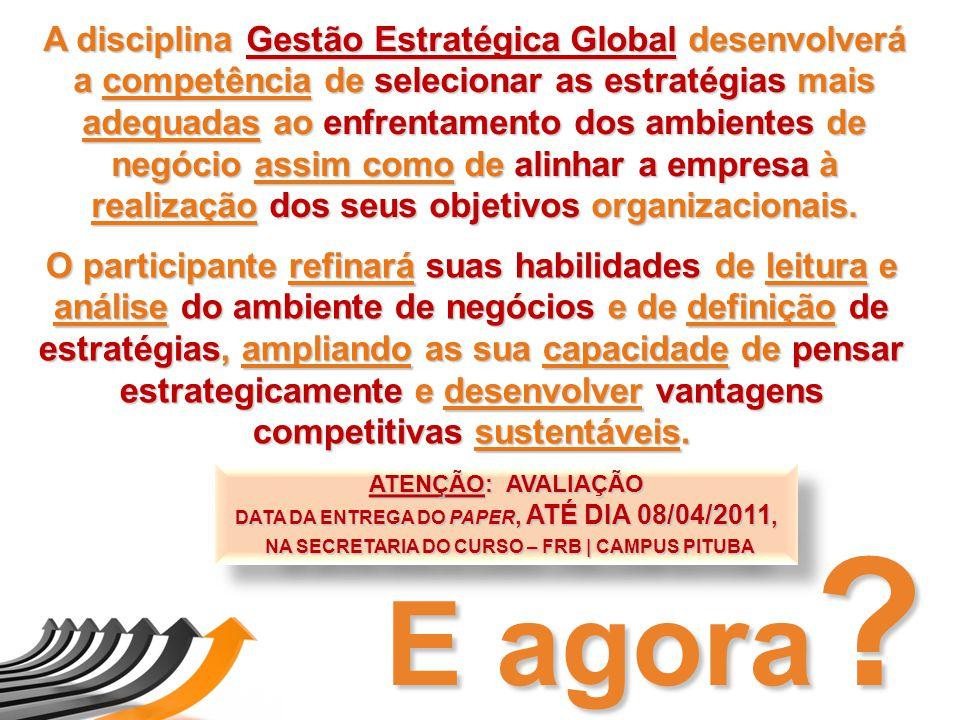 A disciplina Gestão Estratégica Global desenvolverá a competência de selecionar as estratégias mais adequadas ao enfrentamento dos ambientes de negócio assim como de alinhar a empresa à realização dos seus objetivos organizacionais.