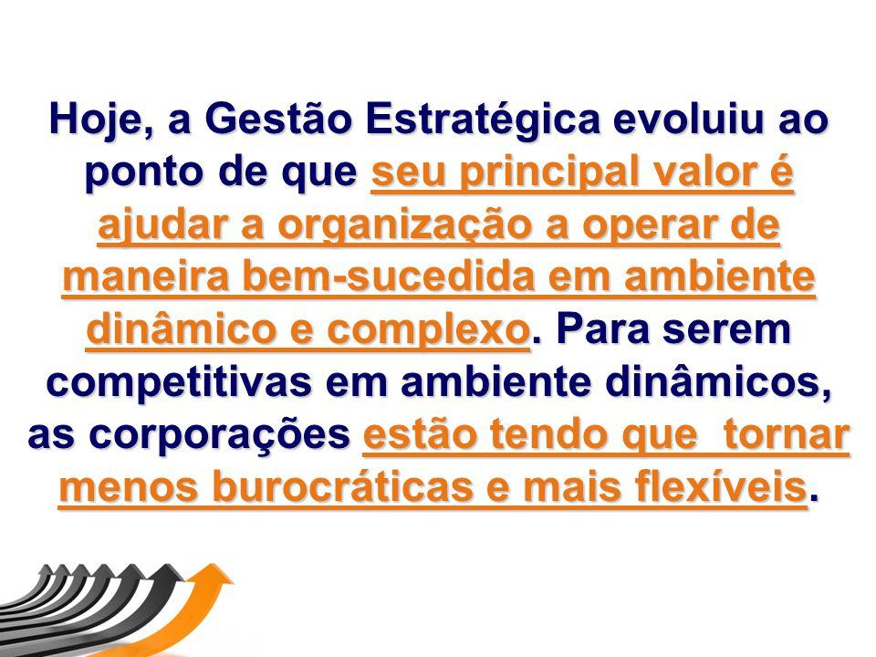Hoje, a Gestão Estratégica evoluiu ao ponto de que seu principal valor é ajudar a organização a operar de maneira bem-sucedida em ambiente dinâmico e complexo.