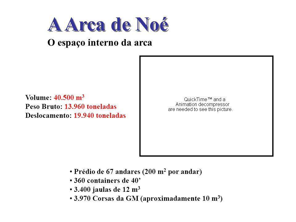 A Arca de Noé O espaço interno da arca Volume: 40.500 m3