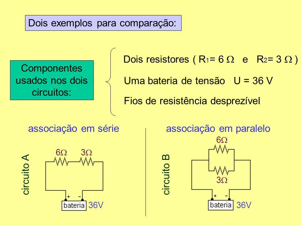 Componentes usados nos dois circuitos: